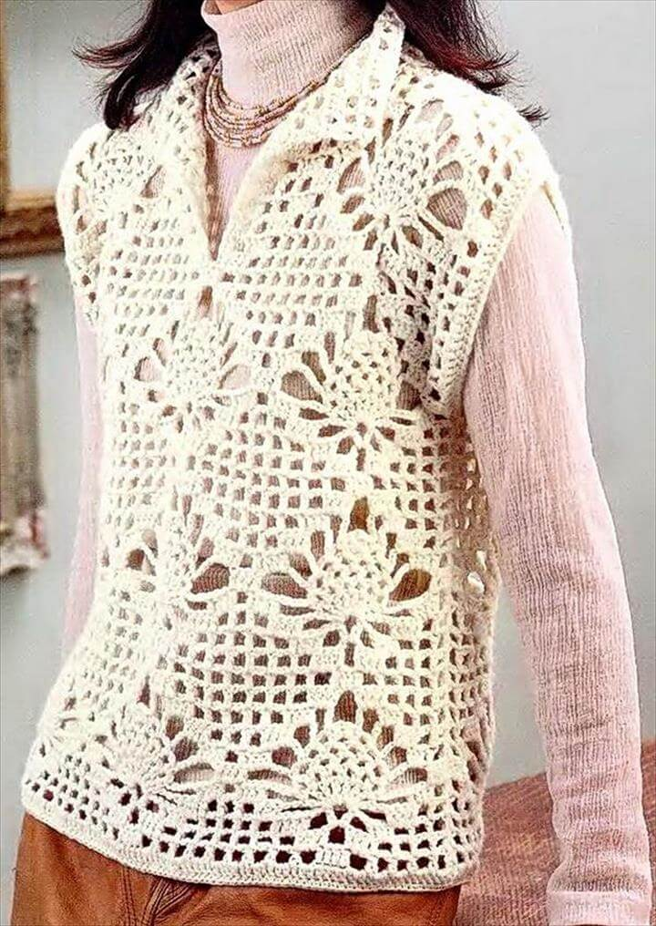 of white crochet sweater