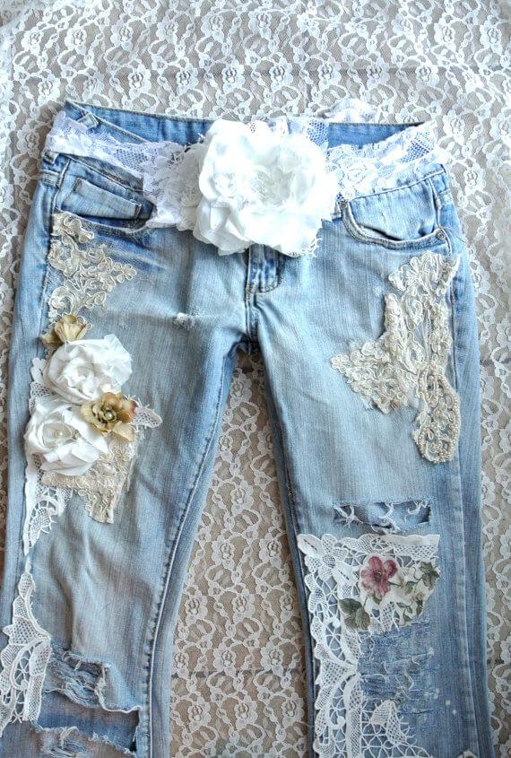 embellished jeans, Boho lace jeans