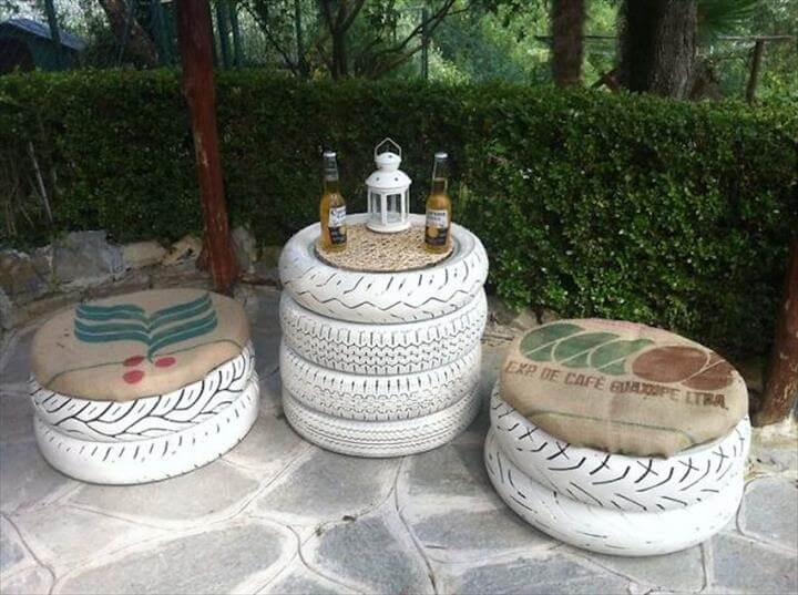 Entire Garden Furniture Set Made From Tires