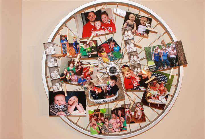 bike wheel with family photos