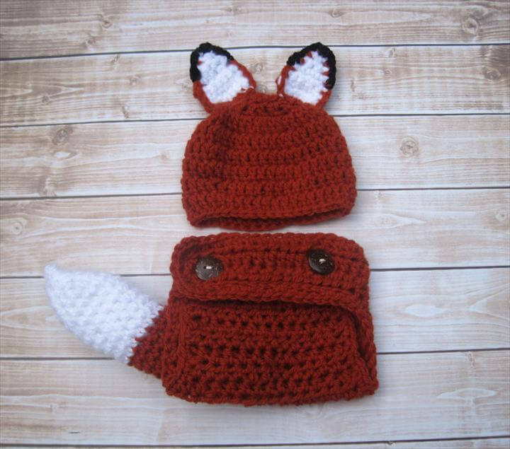 Baby Diaper Cover and Hat, Baby Fox Tail, Baby Fox Hat, Crochet Baby Hat, Baby Costume, Newborn Hat, Baby Halloween Hat, Infant Hat, Red