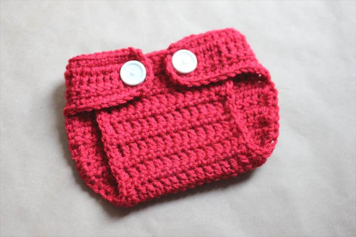 red crochet diaper with white button