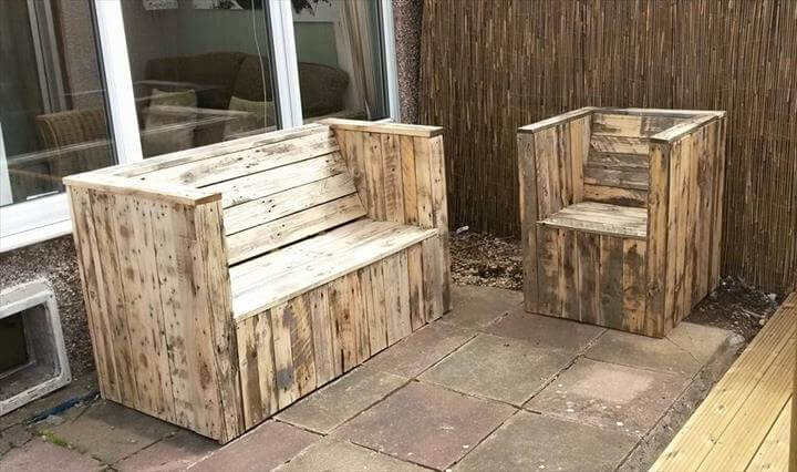 recycled pallet sturdy garden bench and chair