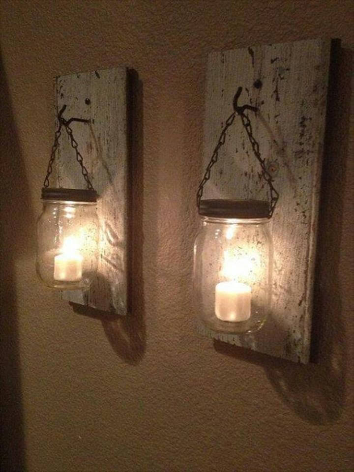 Wall Mounted Fruit Jar Lights : 35 Mason Jar Lights Do It Yourself Ideas DIY to Make