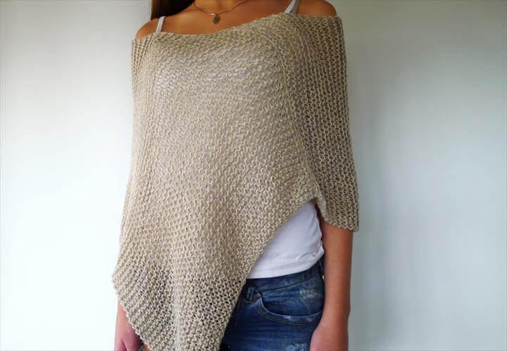 Grey knit summer poncho