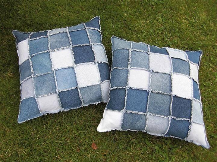 jeans garden pillow