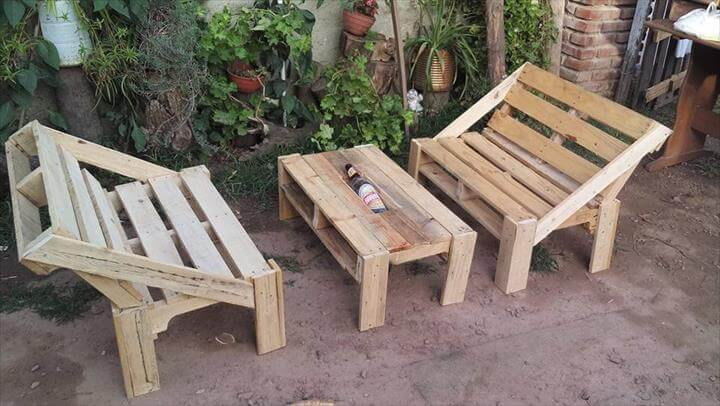 recycled pallet outdoor furniture set