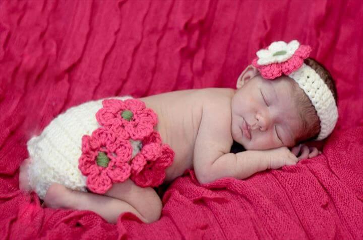 Infant Baby Headband+Diaper Photo Prop Set Hand Crochet Baby Nappy Cover Set