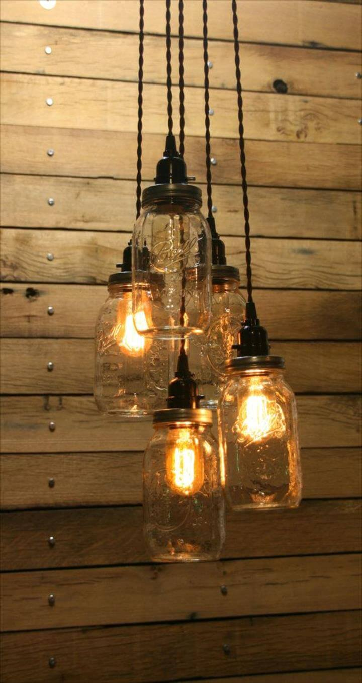 35 mason jar lights do it yourself ideas diy to make jar pendant light mason jar chandelier arubaitofo Image collections