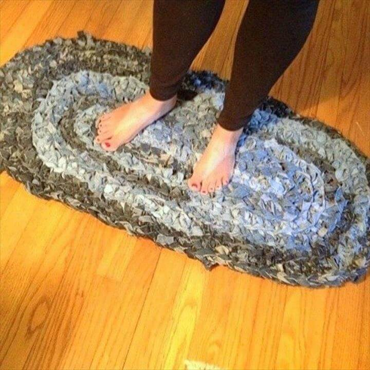 Weave jean scraps into a shag rug
