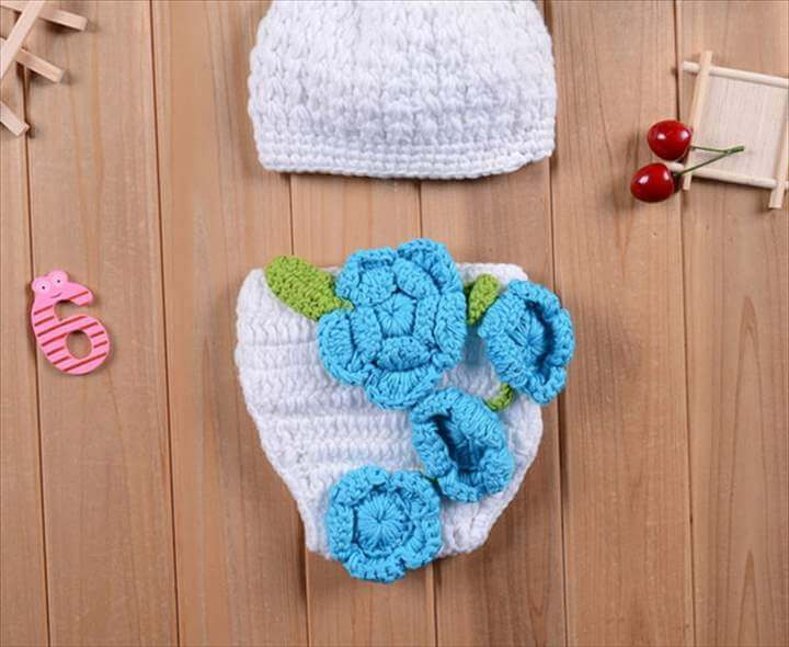 Knitted Girls Flower Hat and Diaper Set