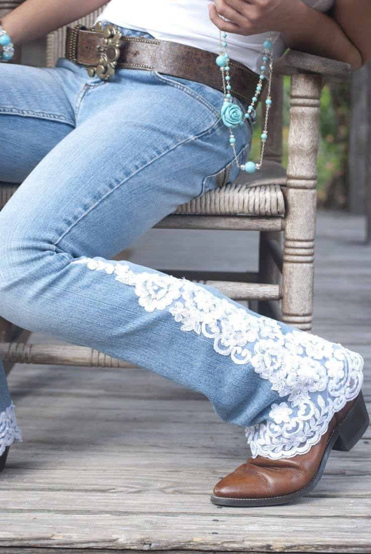 DIY Restyle, Lace Applique Jeans