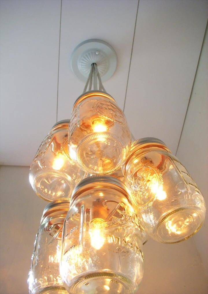 Mason Jar Chandelier Light Open