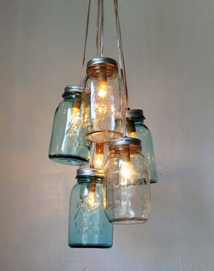 35 mason jar lights do it yourself ideas diy to make for Hanging lights made from mason jars