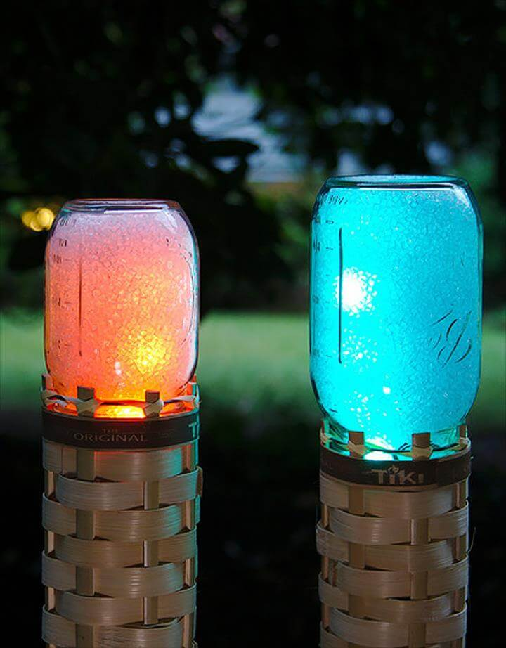 Cute DIY Mason Jar Ideas - Mason Jar Techno Tiki Torch - Fun Crafts, Creative
