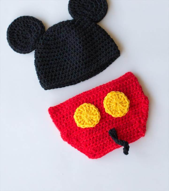 Mickey Mouse Inspired Hat & Diaper Cover Crochet Pattern