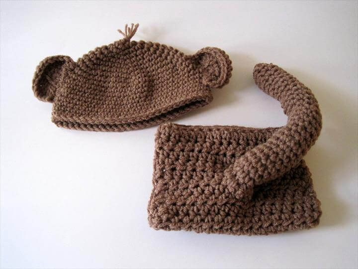 Baby Diaper Cover and Hat, Monkey Tail, Baby Monkey Hat, Crochet Baby Hat