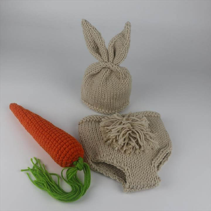 Newborn Photography Props Bunny Crochet Knitting Costume Set Rabbit Hats and Diaper Beanies and Pants Newborn