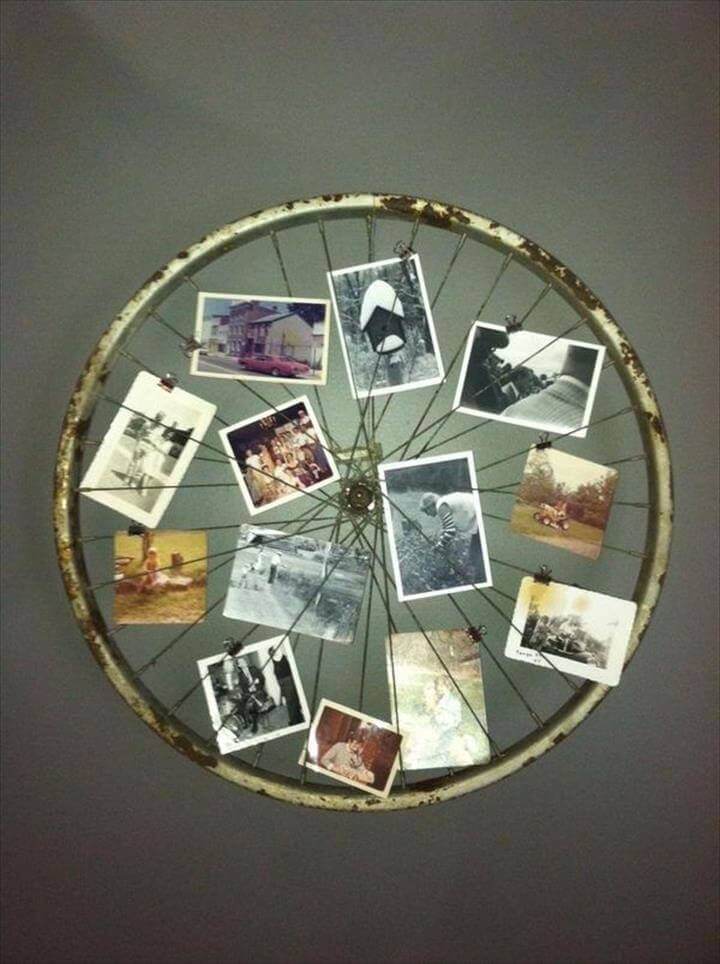 Old Bicycle Wheel Picture Frame. Turn an old bicycle wheel turned into a picture frame