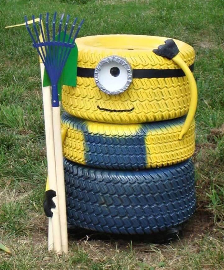 Minion Tire Scarecrow