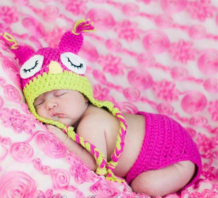 Owl Crochet Baby Hats Diaper Sets Infant Photography Props knitted infant newborn Costume Clothes