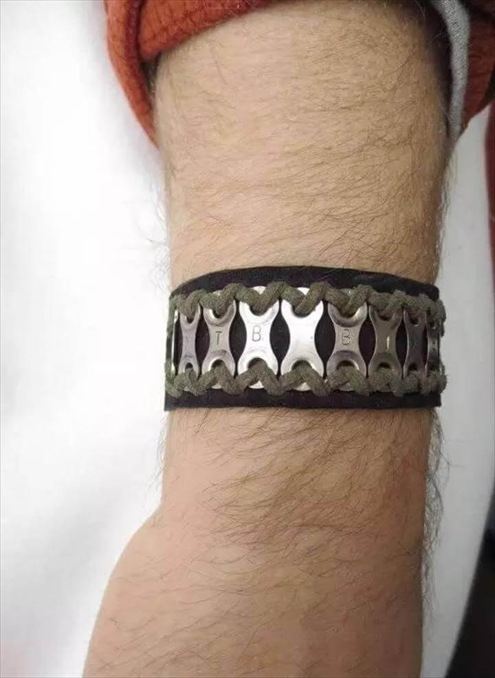 Items similar to Personalized Bicycle Chain Bracelet, Recycled Bicycle Jewelry, Leather Cuff, Sports Jewelry