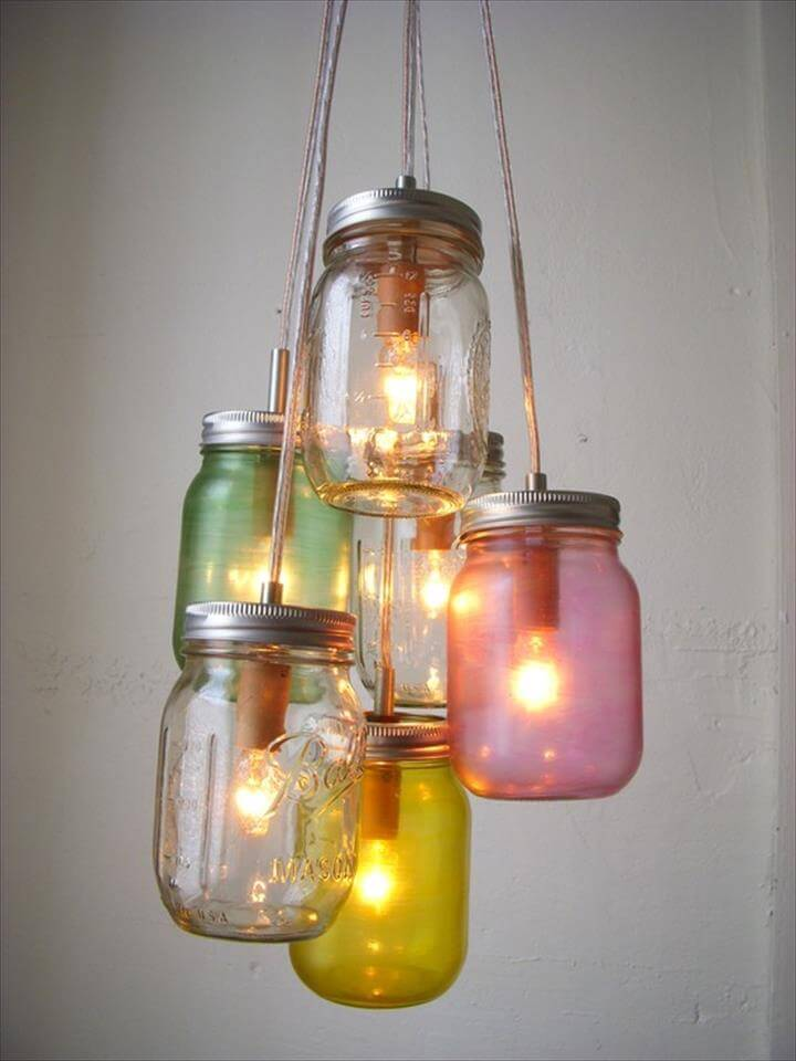 Pretty Pastels Mason Jar Chandelier Swag Light Hanging.