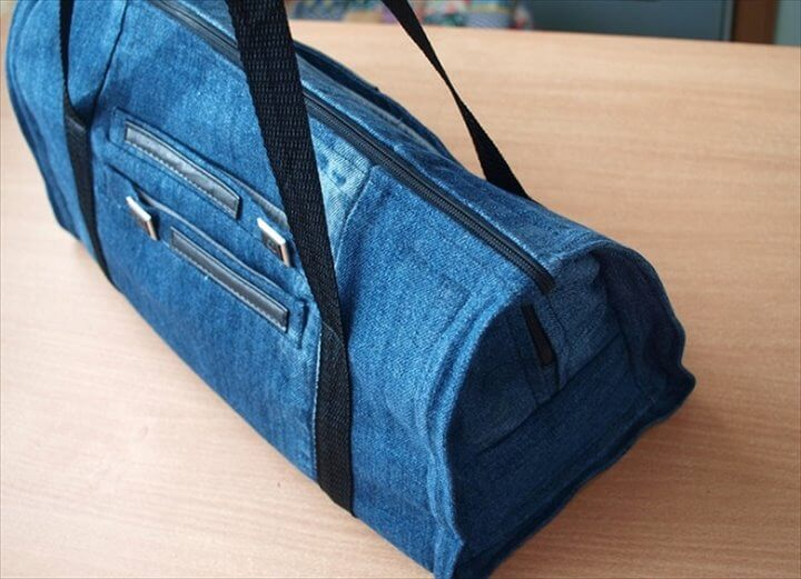 Stylish Denim Gym Bag Made From Old Jeans