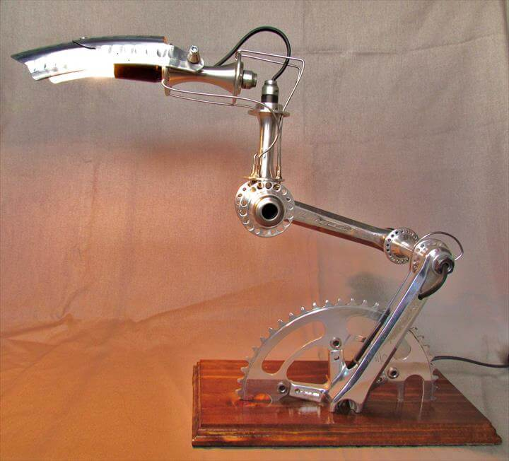 "Recycled Bike part Lamps ""Velolumiere"""