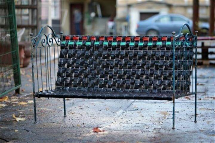 Reused Bicycle Inner Tubes Woven into Cool Recycled Bedframe Bench