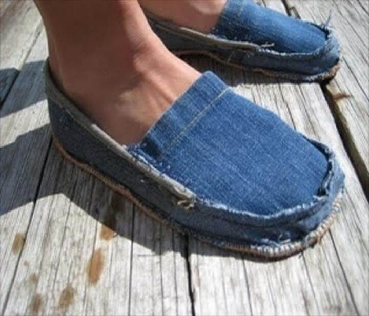 Recycled Old Jeans Shoes Idea