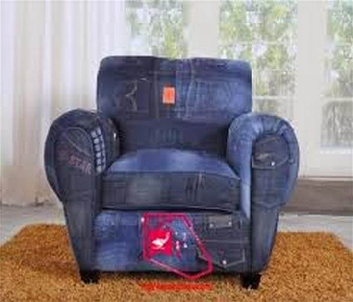 Recycled Old Jeans Sofa Cover