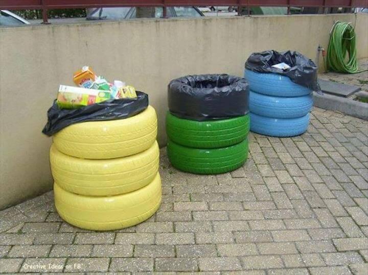 transform a tire into a litter bin