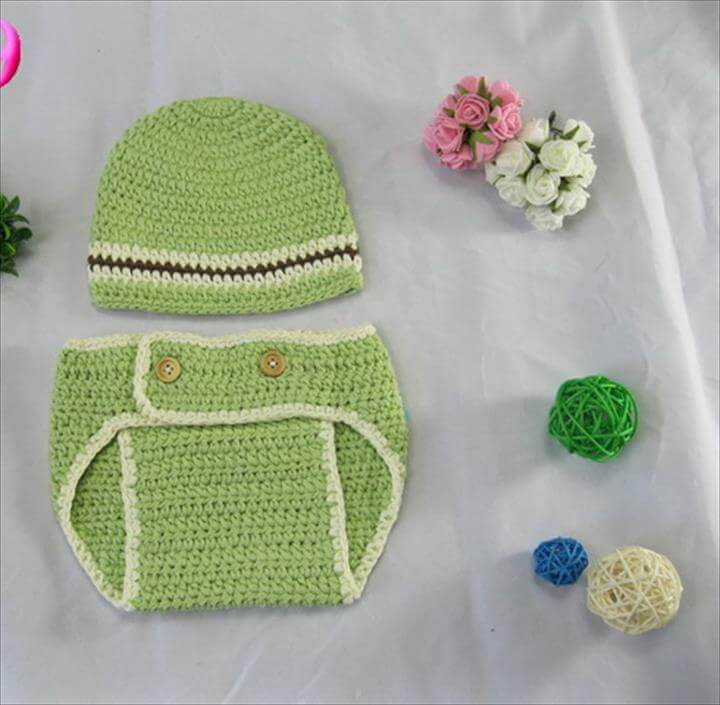 Free shipping,Crochet Baby boy Newsboys Hat & Nappy Diaper Cover Set Newborn Photo props