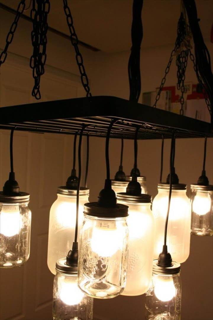 35 mason jar lights do it yourself ideas diy to make. Black Bedroom Furniture Sets. Home Design Ideas