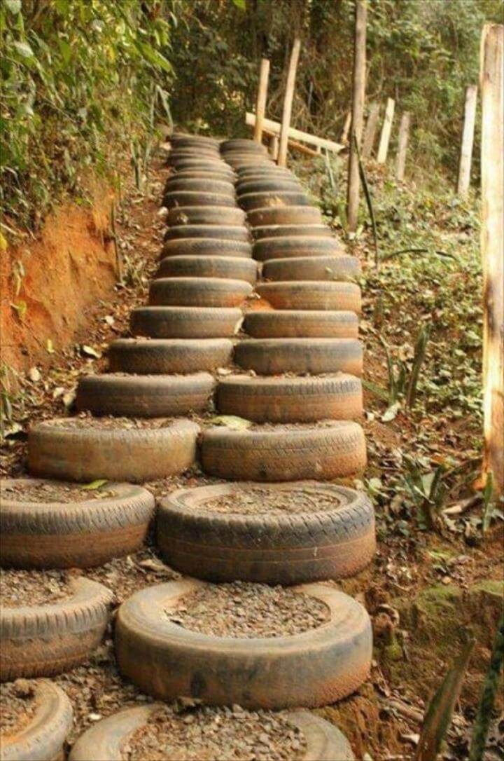 Got any old tires laying around, then take a look at these DIY ideas for recycling those tires rather than taking them to a landfill or tire recycle center.