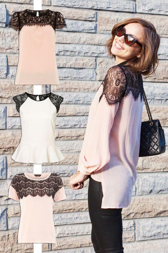 Great DIY Clothes idea for dressing up a plain blouse or tshirt: add lace to
