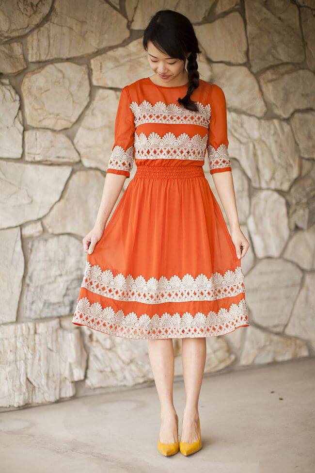 Tangerine Flicker DIY Anthropologie dress