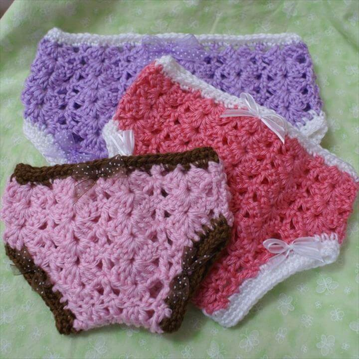 Crochet Pattern for Princess Diaper Cover sizes