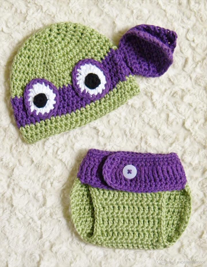 6b7c2e3cd51 new Ninja Turtles Donatello Crochet Baby Hat   Diaper Cover