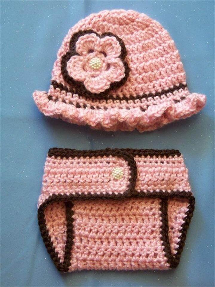 Crochet Baby Hat Diaper Cover Set Newborn