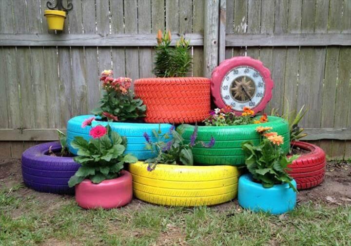 Recycled Tire Garden Planter