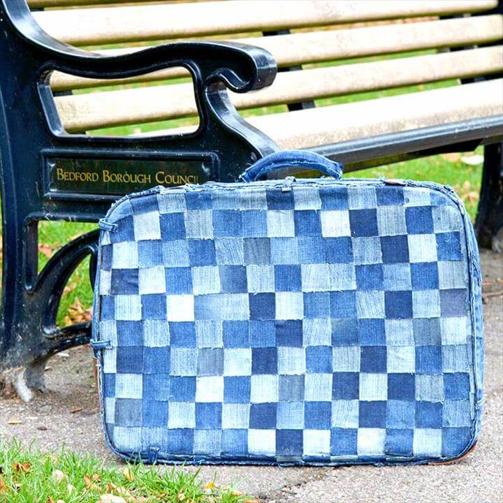 Upcycle an old knackered suitcase with some jeans