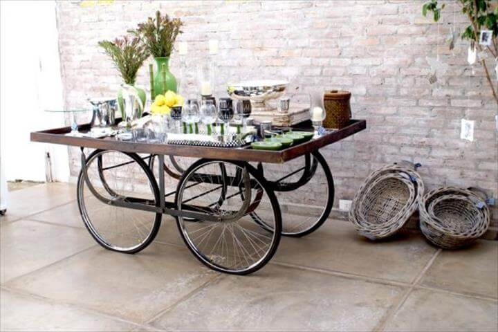 View in gallery upcycled bicycle parts turned table Upcycling Recycled Bicycles For Edgy Interior Street Art