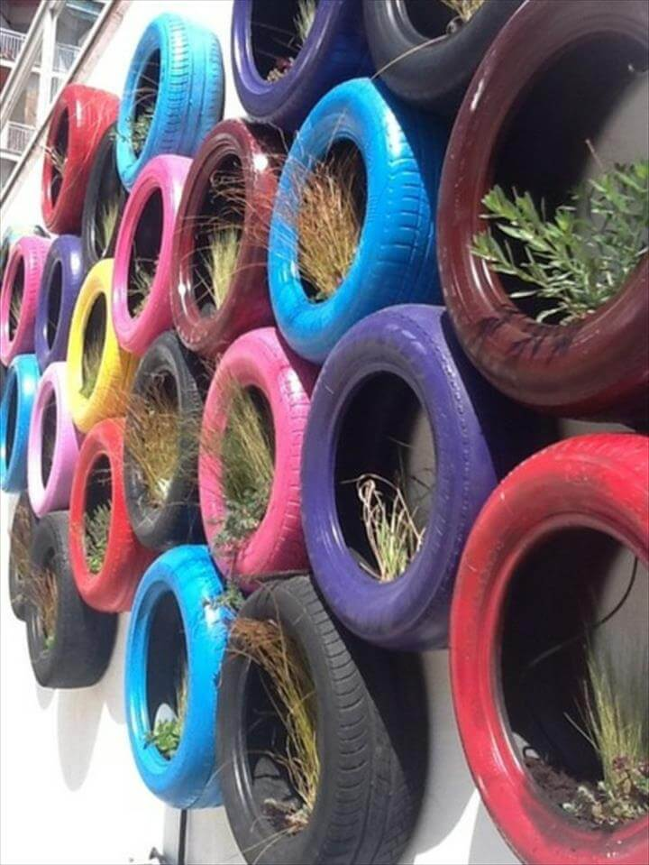 creative rubber recycling ideas colorful tires for the wall garden