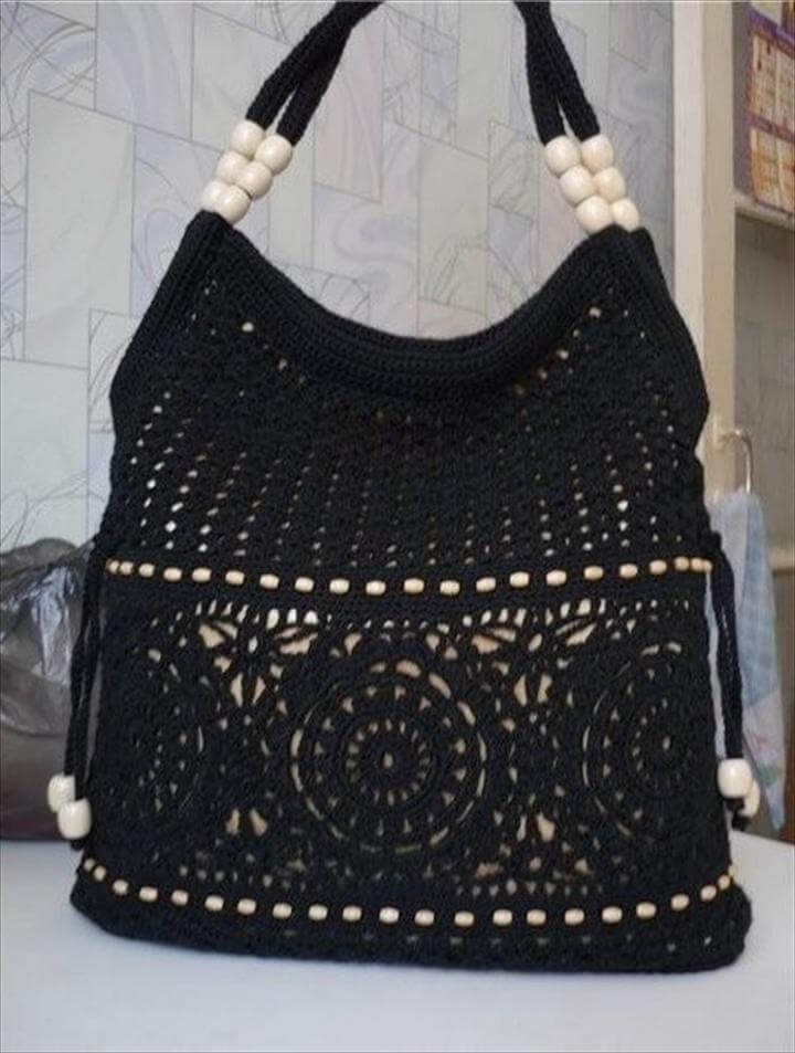 black crochet bag or purse