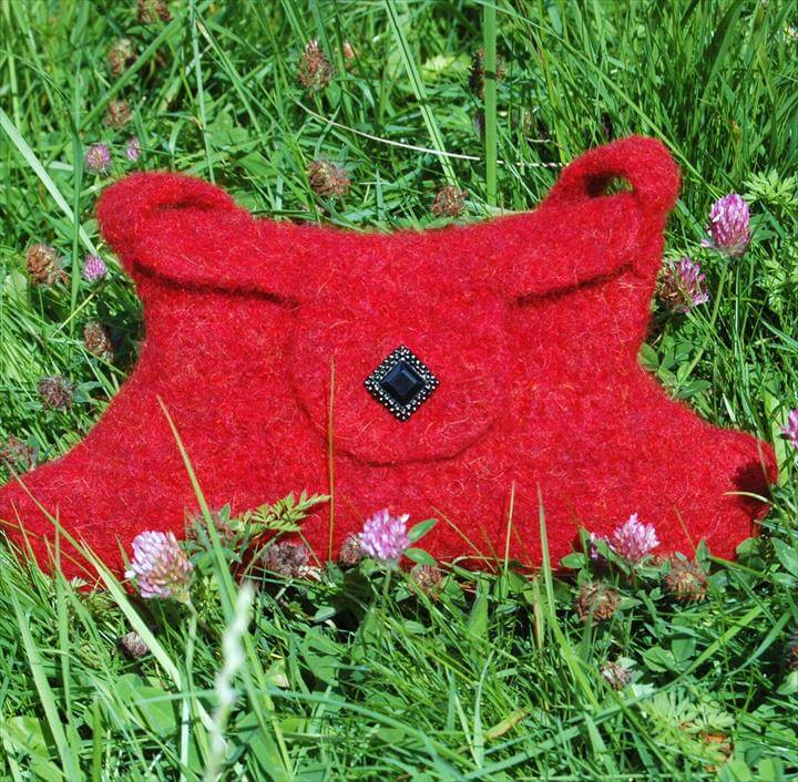 Little Red Felted Make-up Bag