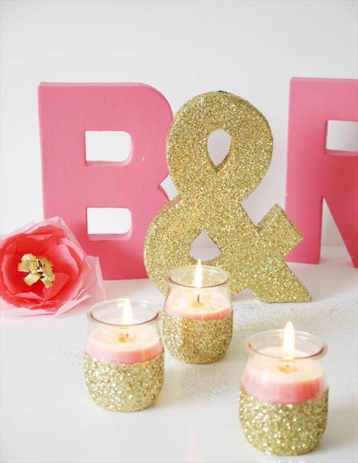 DIY Pink Candles and Glitter Candle Holders | Party Ideas | Party .