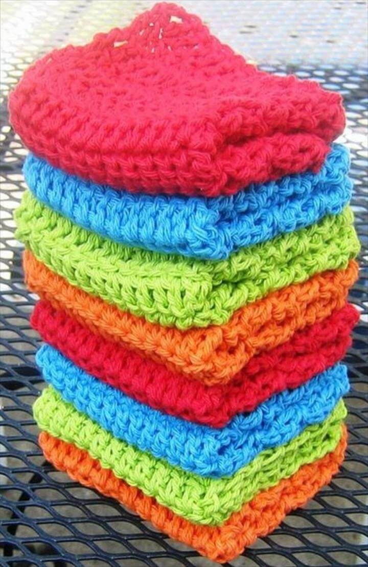 Crochet Stitches Dishcloths : Crochet Cable Stitch Dishcloths :