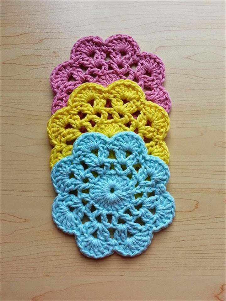 Crochet Flower Dishcloths - Set of Three